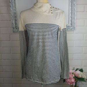 JCrew navy blue and cream striped long-sleeve top